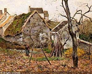 vignon-victor-alfred-paul-1847-les-chaumieres-jardin-devant