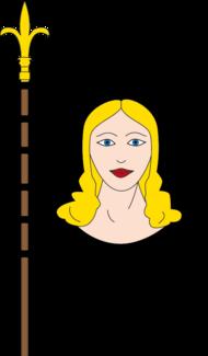 Banneret de sable au visage de femme chevelé d'or