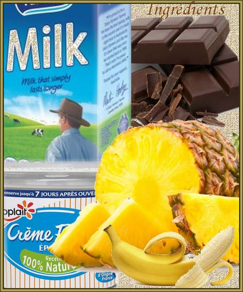 Soupe au chocolat et brochettes de fruits au caramel