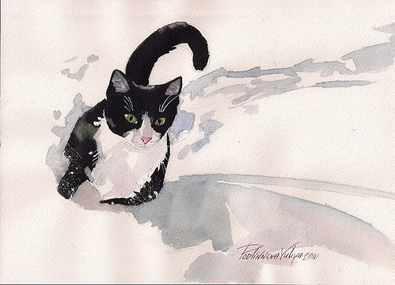 Impression de peinture aquarelle Tuxedo chat noir et blanc chat Kitty chaton par Yuliya Podlinnova