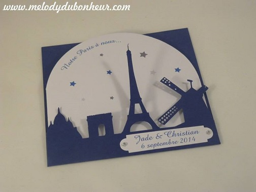 Faire part mariage thème Paris