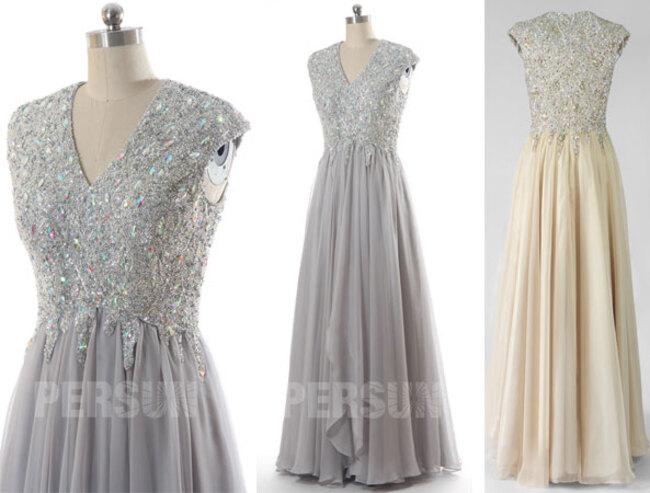 robe demoiselle d'honneur longue embelli de bijoux et paillettes