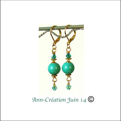 Boucles dormeuses Turquoise Naturelle de Chine / métal et laiton doré