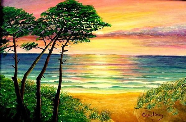 Coucher de soleil peinture acrylique caroline pc40 - L heure du coucher du soleil aujourd hui ...