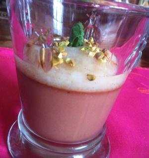Crème au chocolat, compote de poires