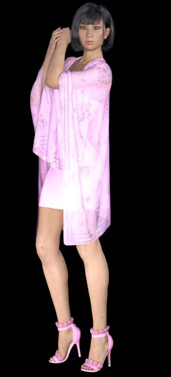 Tube de fille asiatique en rose (render-image)