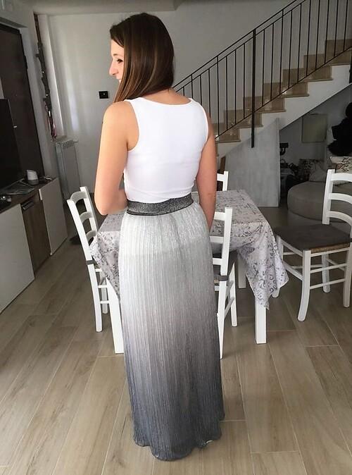 Jupe longue argentée Diane