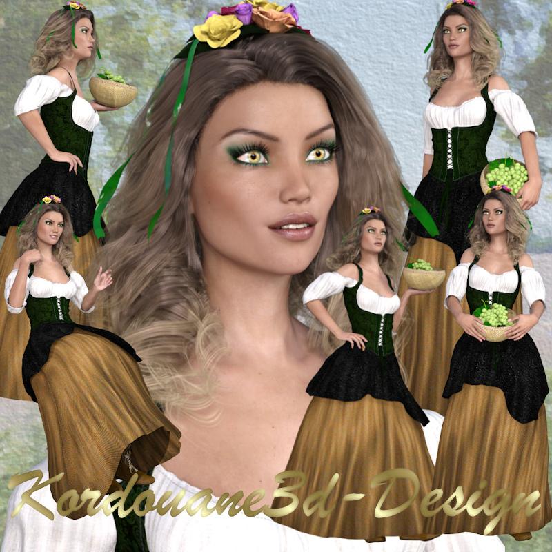 Femme paysanne médiévale (tube-poser)