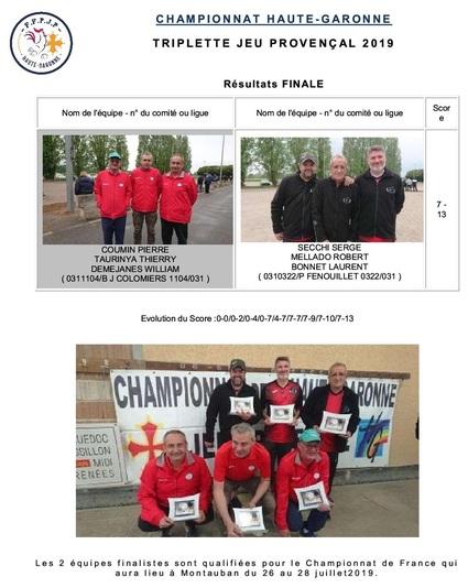 Championnat HG Triplette Jeu Provençal.