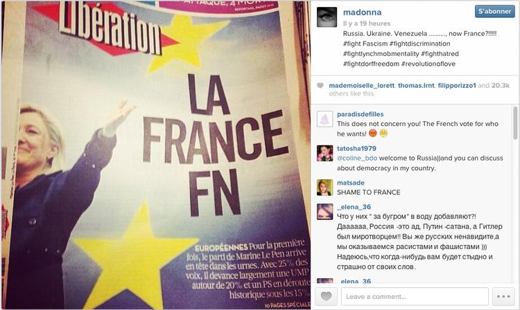 Madonna Le Pen FN 2014