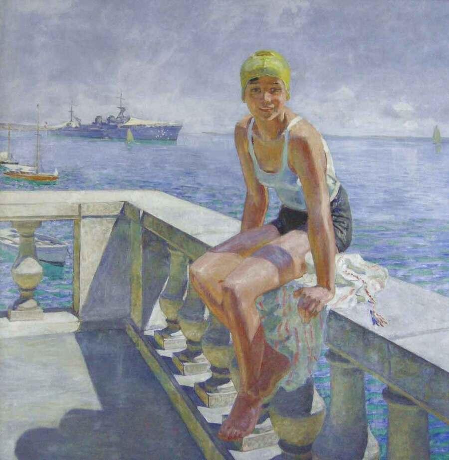 Raoul du Gardier peintre à Pornic Hélène sur la balustrade