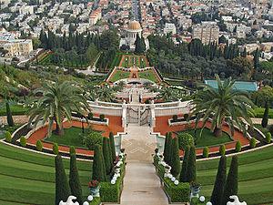 Le mausolée du Báb au sommet du mont Carmel à Haifa.