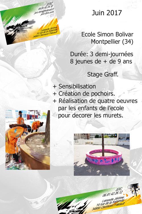 realisation d'oeuvre par les jeunes de l'ecole Simon Bolivar à Montpellier 3 demi-journées avec 8 jeunes. Superbe moments de travail collaboratif plus de photos : http://www.jerc-tbm.com/crbst_5.html