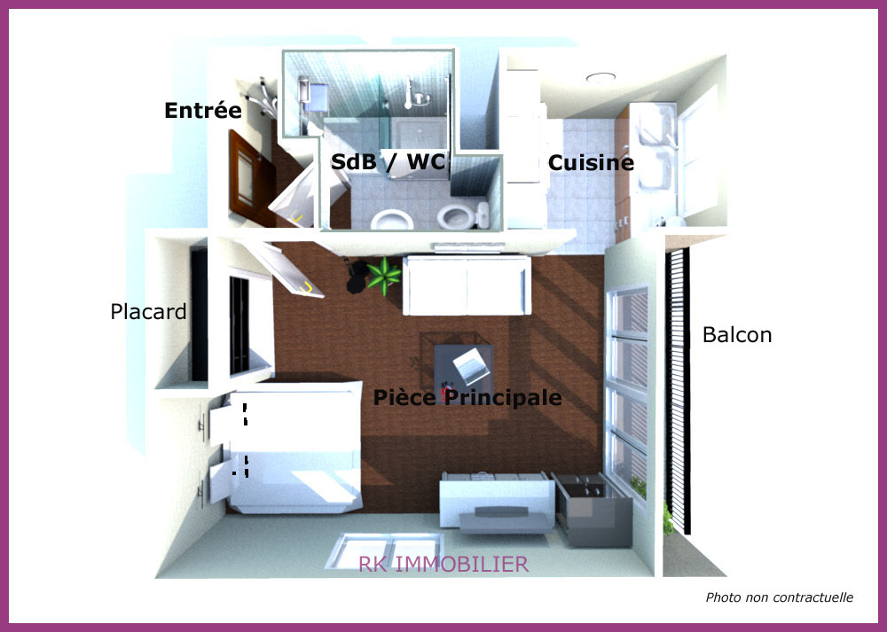 plan d'un appartement f1