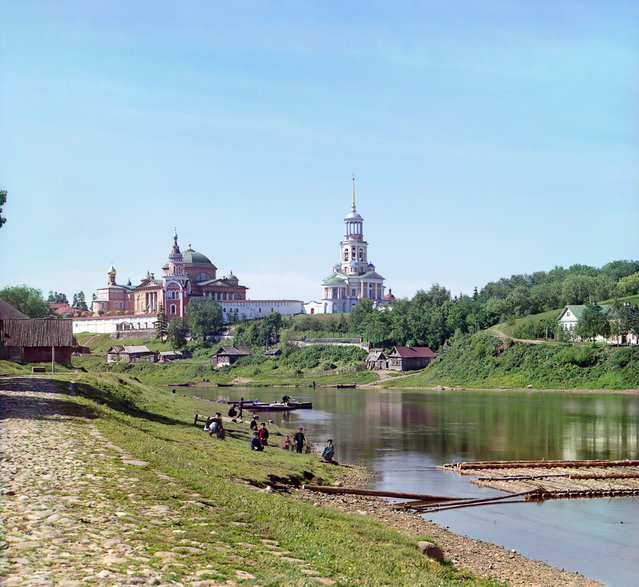 Photos by Sergey Prokudin-Gorsky. Boris-Gleb Monastery, from the bridge. Russia, the Tver province, Torzhok, 1910