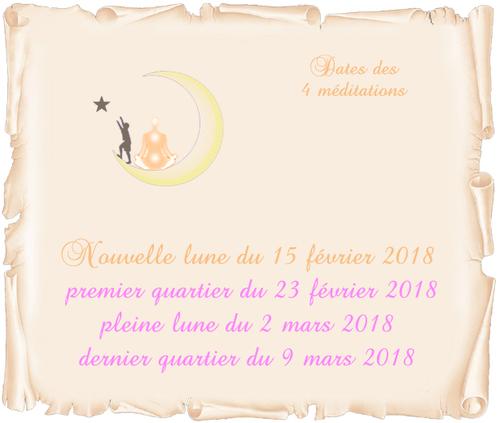 Dates des 4 méditations de février/mars 2018