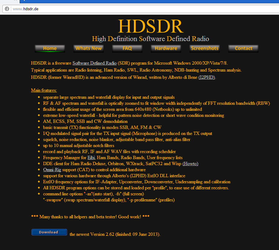 Info Flash : nouvelle version HDSDR