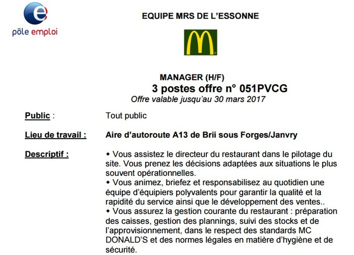 Annonces recrutements MRS ( d'un restaurant Mc Donald's) (CL)