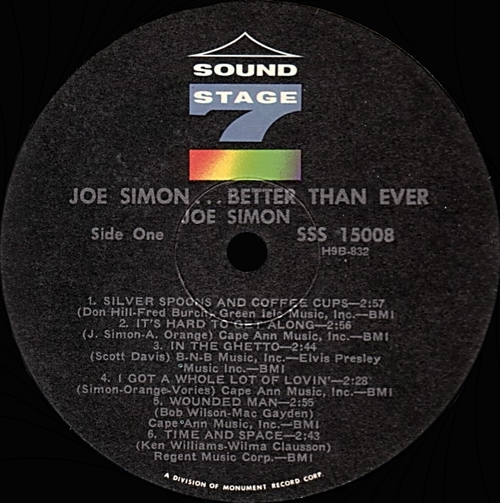"Joe Simon : Album ""...Better Than Ever "" Sound Stage 7 Records SSS-15008 [US]"