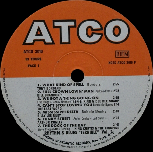 "Série "" Terrible Rhythm & Blues Vol 2 "" Atco Records 3010 [ FR ]"