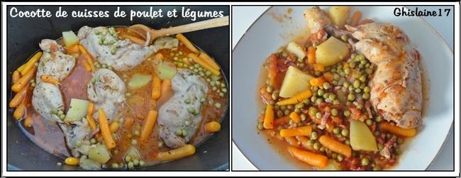 Cocotte de cuisses de poulet et petits légumes