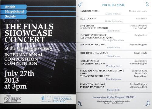 Mon œuvre a été récompensée par le « Concours de Composition de la société britannique du clavecin »