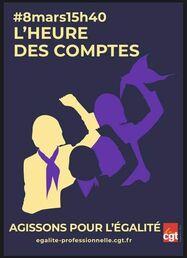 Peut être une image de texte qui dit '#8mars15h40 L'HEURE DES COMPTES AGISSONS POUR L'ÉGALITÉ egalite-professionnelle.cgt.fr cgt'