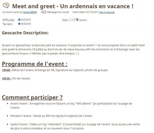 16 juillet 2017 - Meet and greet - Un ardennais en vacance !