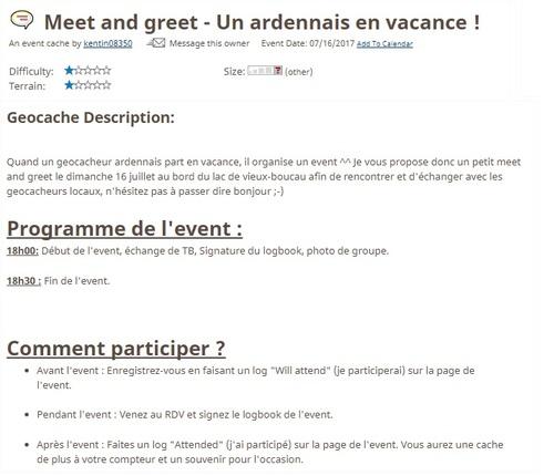 16 juillet 2017 - Meet and greet - Un ardennais en vacance !
