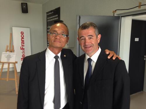 Le Proviseur avec son ami, Franck Marlin, Député Maire d'Etampes