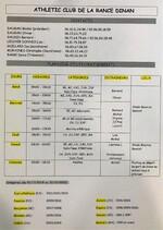 Planning des entraînements