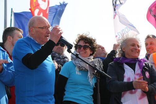Adrien Kervella, président de la fondation Ildys, Hélène Blaize, directeur général et Stéfano De Blasio, délégué Sud, syndicat majoritaire à la fondation Ildys.