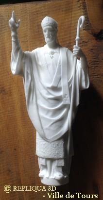 Copie en réduction de la statue de Saint Martin de Tours obtenue par numérisation 3D sur site et impression 3D - Repliqua3D, sculpteur, modélisation, scan 3D haute résolution, art et nouvelles technologies