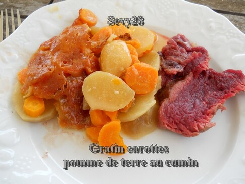 Gratin de carottes et pommes de terre au cumin