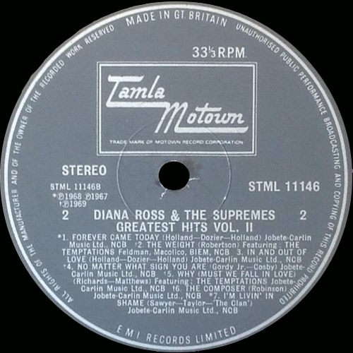 "Diana Ross & The Supremes : Album "" Greatest Hits Vol. 2 "" Tamla Motown Records STML 11146 [ UK ]"
