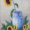 tournesols en vase bleu