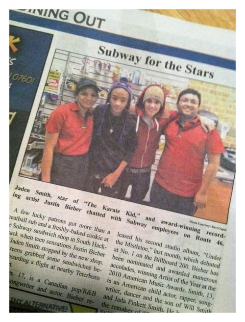 Jaden Smith and Justin Bieber On Newspaper