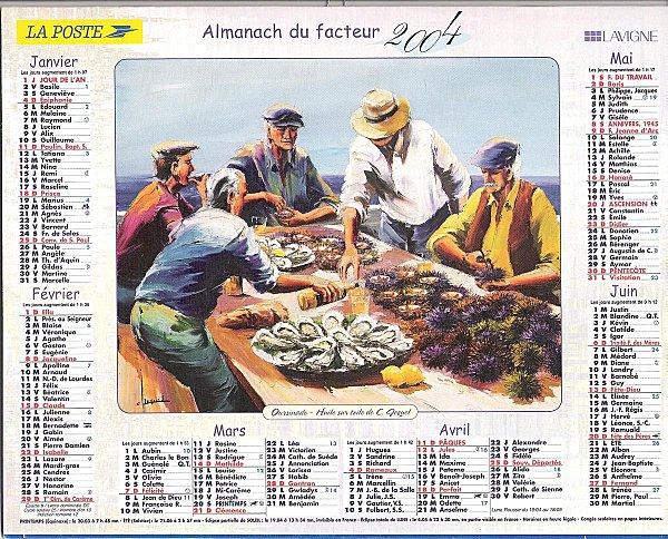 Calendrier du facteur 1S2004