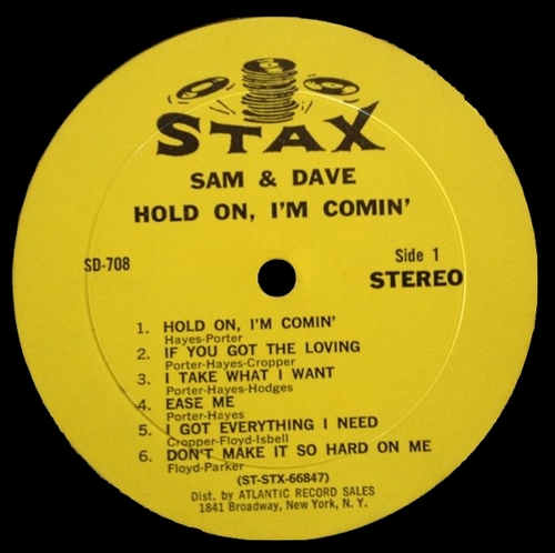 "Sam & Dave : Album "" Hold On , I'm Comin' "" Stax Records SD 708 [ US ]"