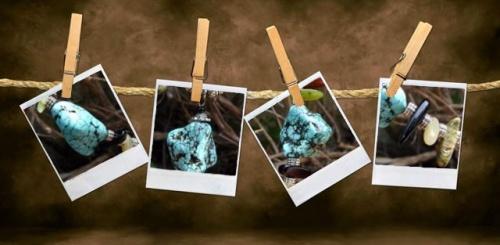 Gros plan sur les pierres de Turquoise du collier réalisé par Sylvie Le Brigant