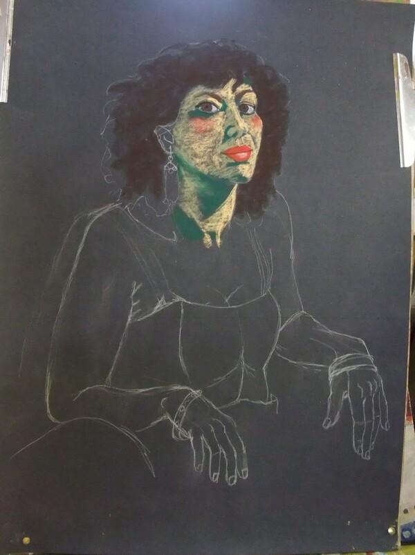 Lundi - Portrait de femme aux pastels secs (2)