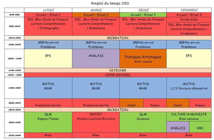 Emploi du temps CE2 rentrée 2021-2022
