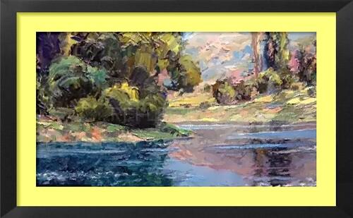 Dessin et peinture - vidéo 2177 : Un exemple de reflets dans un paysage 4 - peinture acrylique sur toile.