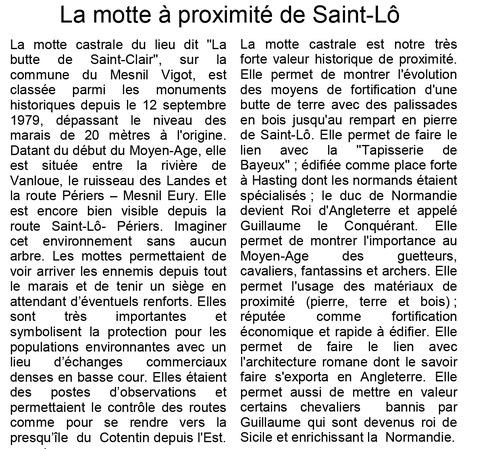 LES REMPARTS DE LA BUTTE SAINT-CLAIR (Manche)