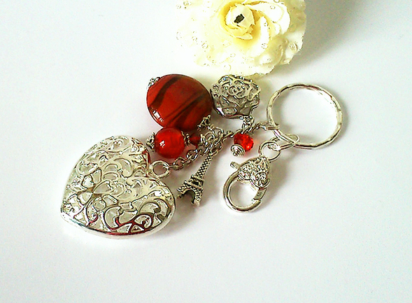 Bijou de Sac Rouge / Verre filé, Cristal, Plaqué argent et métal argenté