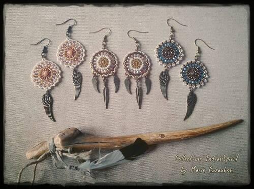 boucles d'oreilles indienne, dreamcatcher, attrape reve, amérindienne