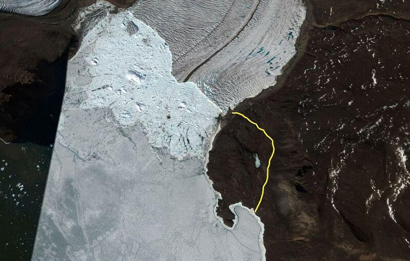 Trace de la balade au belvédère surplombant le Glacier Bowdoin (4 km A/R), terrain assez difficile avec les bottes ... - Région de Qaanaaq - Groenland