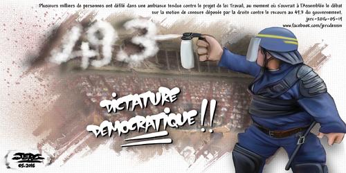 JERC 2016-05-19, caricature  policier crs police partout, justice nulle part ! www.facebook.com/jercdessin Cliquer sur la photo pour voir en plus grand