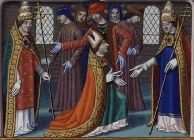 Le pape Félix V (également duc de Savoie sous le nom d'Amédée VIII) se réconcilie avec Nicolas V (