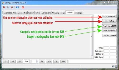 Mise au point de la cartographie avec ECMSpy et les sondes O2 d'origine